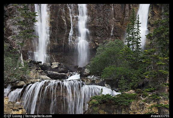 Upper tier of Tangle Falls. Jasper National Park, Canadian Rockies, Alberta, Canada
