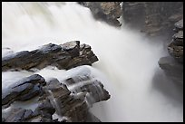 Water flowing over Gog quartzite in Athabasca Falls. Jasper National Park, Canadian Rockies, Alberta, Canada