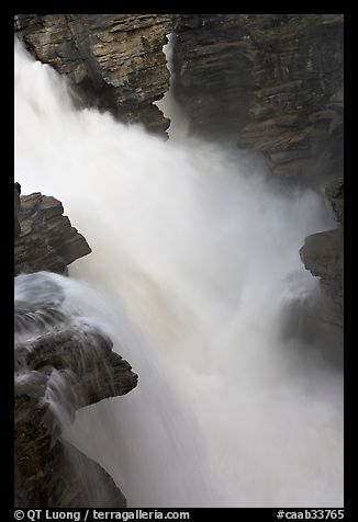 Water cascading over a glacial rock step, Athabasca Falls. Jasper National Park, Canadian Rockies, Alberta, Canada