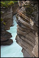 Gorge at the base of Athabasca Falls. Jasper National Park, Canadian Rockies, Alberta, Canada ( color)