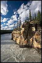 Athabasca River and cliff, late afternoon. Jasper National Park, Canadian Rockies, Alberta, Canada