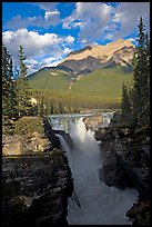 Athabasca Falls and Mt Kerkeslin, late afternoon. Jasper National Park, Canadian Rockies, Alberta, Canada ( color)