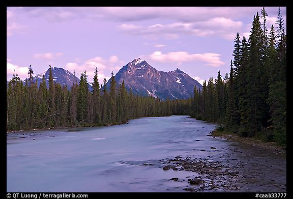 Whirlpool River and Whirlpool Peak, sunset. Jasper National Park, Canadian Rockies, Alberta, Canada
