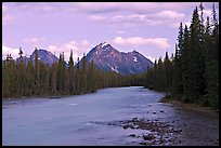 Whirlpool River and Whirlpool Peak, sunset. Jasper National Park, Canadian Rockies, Alberta, Canada ( color)