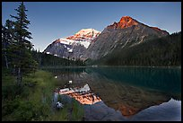 Cavell Lake and Mt Edith Cavell, sunrise. Jasper National Park, Canadian Rockies, Alberta, Canada (color)