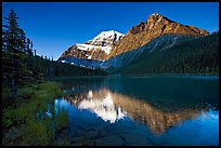 Cavell Lake and Mt Edith Cavell, early morning. Jasper National Park, Canadian Rockies, Alberta, Canada (color)