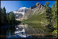 Mt Edith Cavell and  Cavell Lake from the footbrige, early morning. Jasper National Park, Canadian Rockies, Alberta, Canada