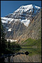 Steep face of Mt Edith Cavell raising above Cavell Lake. Jasper National Park, Canadian Rockies, Alberta, Canada