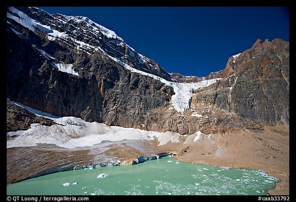 Mt Edith Cavell, Angel Glacier, and turquoise glacial lake. Jasper National Park, Canadian Rockies, Alberta, Canada