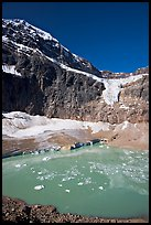 Turquoise glacial lake below Mt Edith Cavell, morning. Jasper National Park, Canadian Rockies, Alberta, Canada (color)