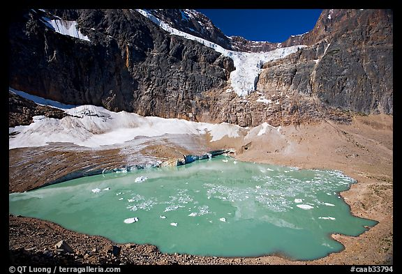 Hanging glacier and glacial pond, Mt Edith Cavell. Jasper National Park, Canadian Rockies, Alberta, Canada