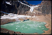 Hanging glacier and glacial pond, Mt Edith Cavell. Jasper National Park, Canadian Rockies, Alberta, Canada ( color)