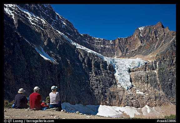 Hikers looking at Angel Glacier and Cavell Glacier. Jasper National Park, Canadian Rockies, Alberta, Canada (color)