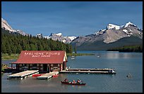 Maligne Lake and boat house. Jasper National Park, Canadian Rockies, Alberta, Canada (color)