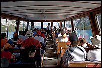 Aboard the tour boat on Maligne Lake. Jasper National Park, Canadian Rockies, Alberta, Canada (color)