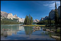 Spirit Island and Maligne Lake, afternoon. Jasper National Park, Canadian Rockies, Alberta, Canada