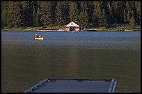Dock, canoe, and boathouse, Maligne Lake. Jasper National Park, Canadian Rockies, Alberta, Canada