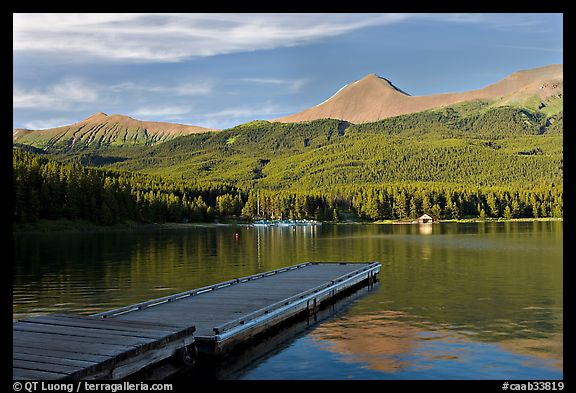Dock, Maligne Lake, and Bald Hills, late afternoon. Jasper National Park, Canadian Rockies, Alberta, Canada (color)