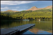 Dock, Maligne Lake, and Bald Hills, late afternoon. Jasper National Park, Canadian Rockies, Alberta, Canada