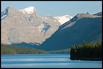 Maligne Lake and peaks, late afternoon. Jasper National Park, Canadian Rockies, Alberta, Canada