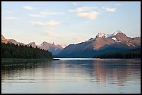 Serene view of Maligne Lake and peaks, sunset. Jasper National Park, Canadian Rockies, Alberta, Canada