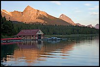 Maligne Lake Boathouse,  Leh and Samson peaks, sunset. Jasper National Park, Canadian Rockies, Alberta, Canada