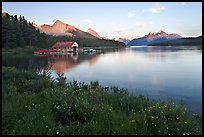 Wildflowers, Maligne Lake and boathouse, sunset. Jasper National Park, Canadian Rockies, Alberta, Canada (color)