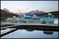 Tour boat dock, Maligne Lake, sunset. Jasper National Park, Canadian Rockies, Alberta, Canada
