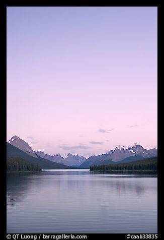 Maligne Lake, sunset. Jasper National Park, Canadian Rockies, Alberta, Canada