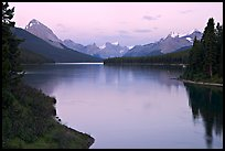 Maligne River outlet and Maligne Lake, sunset. Jasper National Park, Canadian Rockies, Alberta, Canada