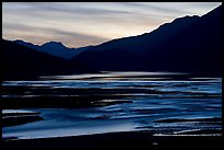 Flood plain of Medicine Lake, sunset. Jasper National Park, Canadian Rockies, Alberta, Canada