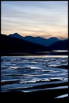 Braided channels and Medicine Lake, sunset. Jasper National Park, Canadian Rockies, Alberta, Canada
