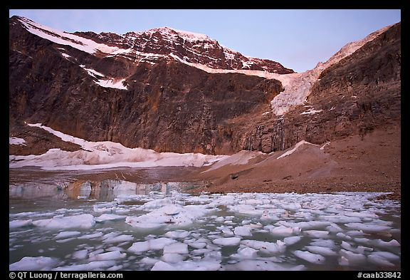 Cavell Pond at the base of Mt Edith Cavell, sunrise. Jasper National Park, Canadian Rockies, Alberta, Canada (color)