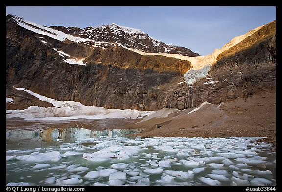 Glacial Pond filled with icebergs below Mt Edith Cavell, sunrise. Jasper National Park, Canadian Rockies, Alberta, Canada