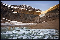 Glacial Pond filled with icebergs below Mt Edith Cavell, sunrise. Jasper National Park, Canadian Rockies, Alberta, Canada (color)