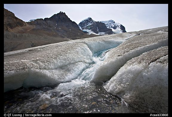 Glacial stream at the toe of Athabasca Glacier. Jasper National Park, Canadian Rockies, Alberta, Canada (color)