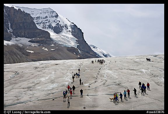 Groups of people amongst glacier and peaks. Jasper National Park, Canadian Rockies, Alberta, Canada (color)