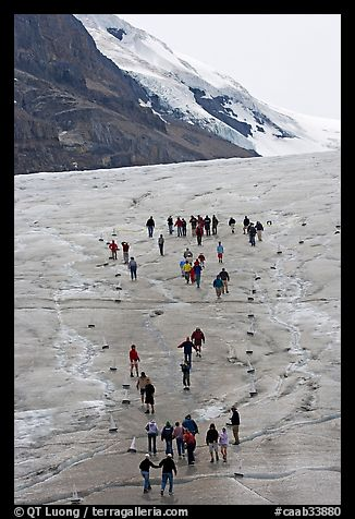 People in delimited area at the toe of Athabasca Glacier. Jasper National Park, Canadian Rockies, Alberta, Canada (color)