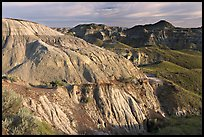 Badlands and hills, Dinosaur Provincial Park. Alberta, Canada (color)