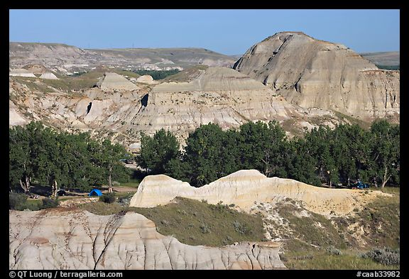 Campground amongst badlands, Dinosaur Provincial Park. Alberta, Canada (color)
