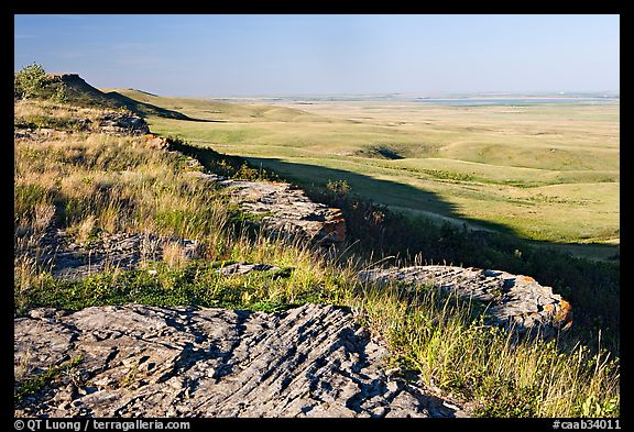 Prairie and foothills seen from the top of the cliff,  Head-Smashed-In Buffalo Jump. Alberta, Canada (color)