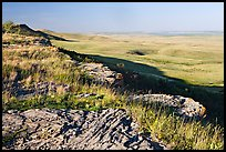 Prairie and foothills seen from the top of the cliff,  Head-Smashed-In Buffalo Jump. Alberta, Canada