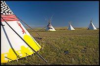 Indian Teepees,  Head-Smashed-In Buffalo Jump. Alberta, Canada ( color)