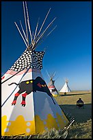 Teepee tents,  Head-Smashed-In Buffalo Jump. Alberta, Canada