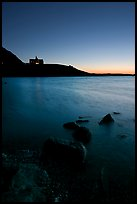 Waterton Lake and Prince of Wales hotel, dawn. Waterton Lakes National Park, Alberta, Canada ( color)