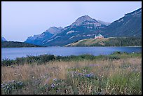 Prince of Wales hotel and upper Waterton Lake, dawn. Waterton Lakes National Park, Alberta, Canada