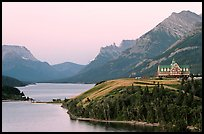 Waterton Lakes and Prince of Wales hotel, dawn. Waterton Lakes National Park, Alberta, Canada ( color)