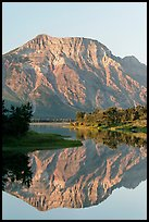 Mountain and reflection in Middle Waterton Lake, sunrise. Waterton Lakes National Park, Alberta, Canada (color)