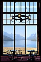 Waterton Lake seen though the immense picture windows of Prince of Wales hotel. Waterton Lakes National Park, Alberta, Canada (color)