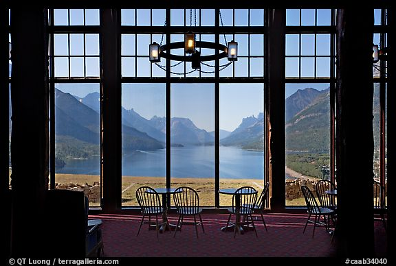 Lobby of Prince of Wales hotel with view over Waterton Lake. Waterton Lakes National Park, Alberta, Canada (color)